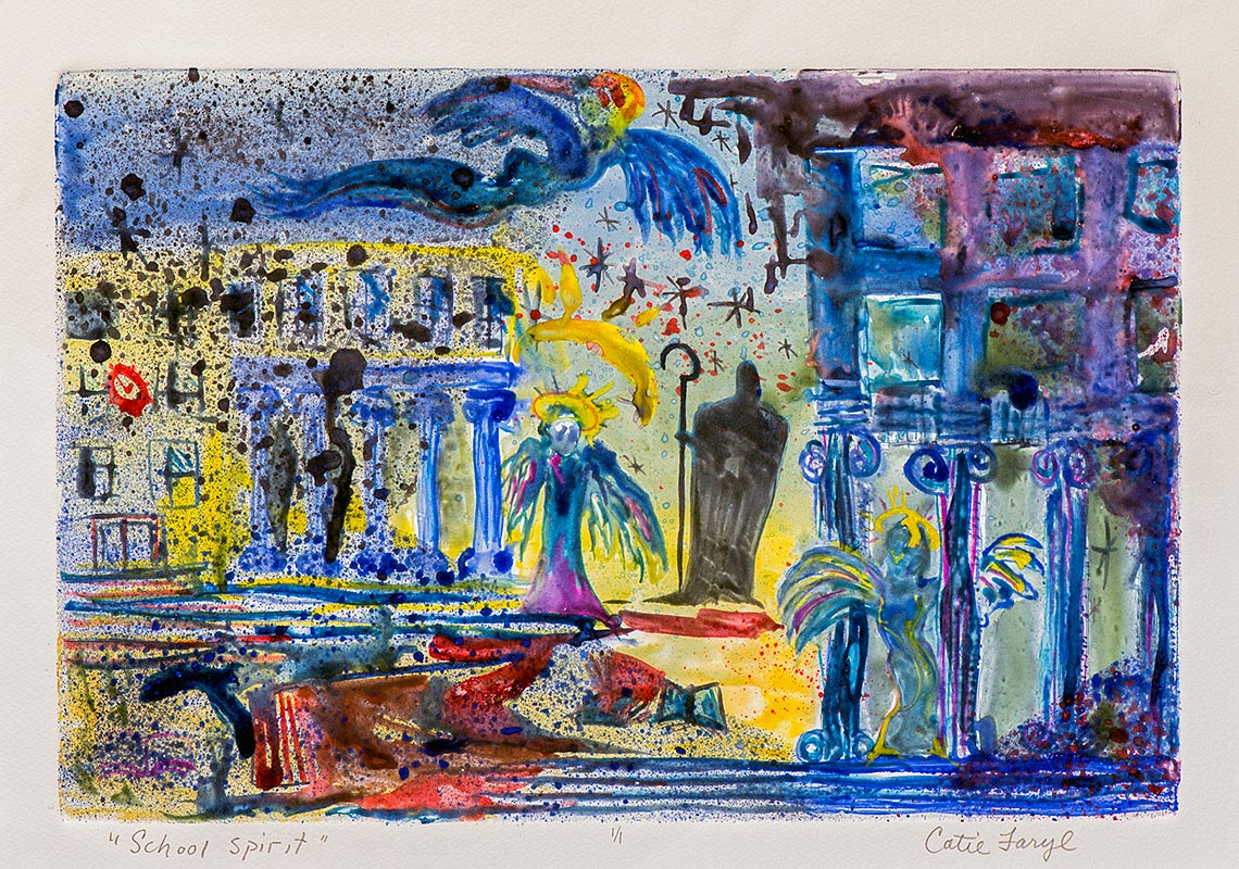School Spirit, Impressionist painting from the 1999 Collapse of the Cuckoo Kingdom exhibition collection by activist artist Catie Faryl.