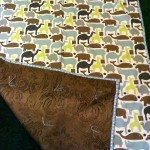 """42"""" x 60"""" Blue Animal Print - cotton blanket with brown flannel backing $60"""