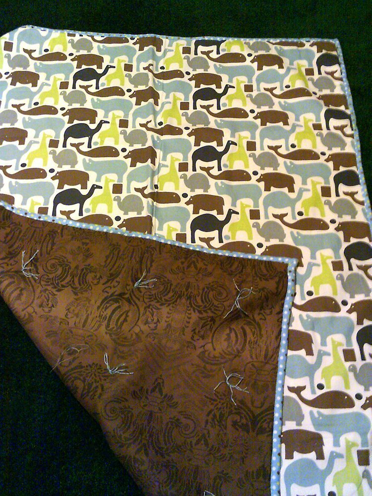 "42"" x 60"" Blue Animal Print - cotton blanket with brown flannel backing $60"