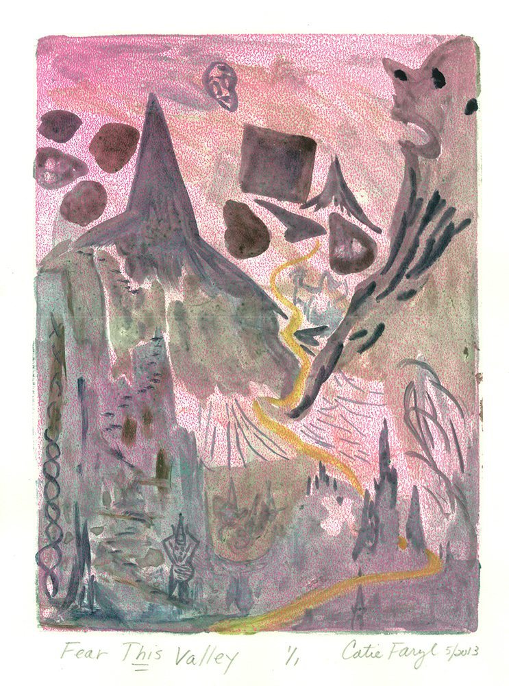 "Fear This Valley, Monotype Print from the ""Don't Shop with G-Nome"" series by artist Catie Faryl, 2013."