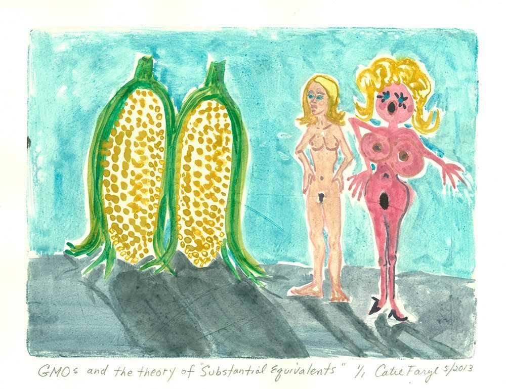 "GMOS and the Theory of Substantial Equivalents, Monotype Print from the ""Don't Shop with G-Nome"" series by artist Catie Faryl, 2013."
