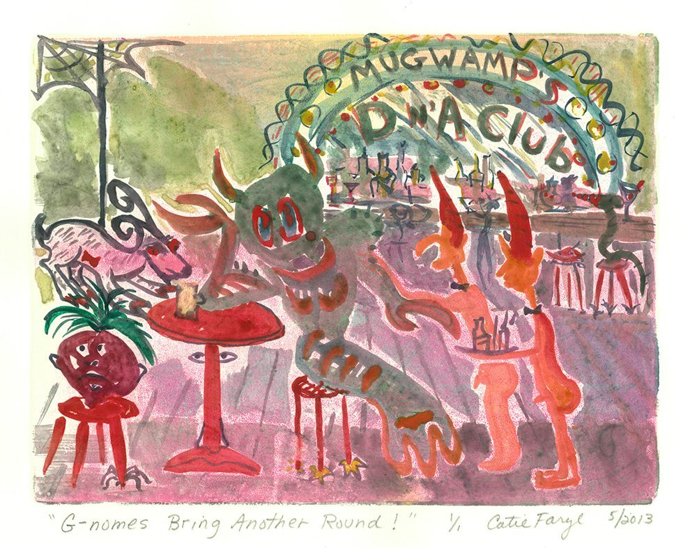 """G-Nomes Bring Another Round at the D 'n' A Club, Monotype Print from the """"Don't Shop with G-Nome"""" series by artist Catie Faryl, 2013."""