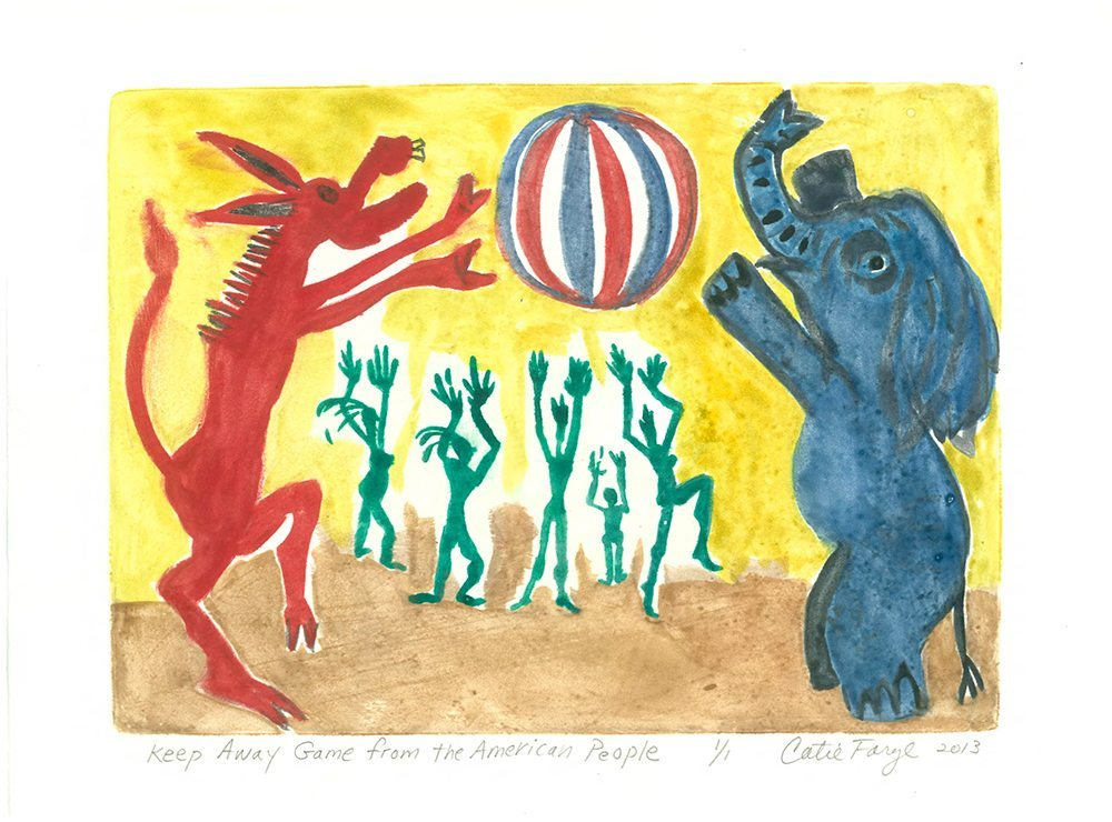 "Keepaway Game From the American People, Monotype Print from the ""The Bridge to 2020"" series by artist Catie Faryl, 2013."