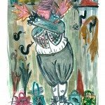 "Little Lord Monsanto in the Cloak Room of Shame, Monotype Print from the ""Don't Shop with G-Nome"" series by artist Catie Faryl, 2013."