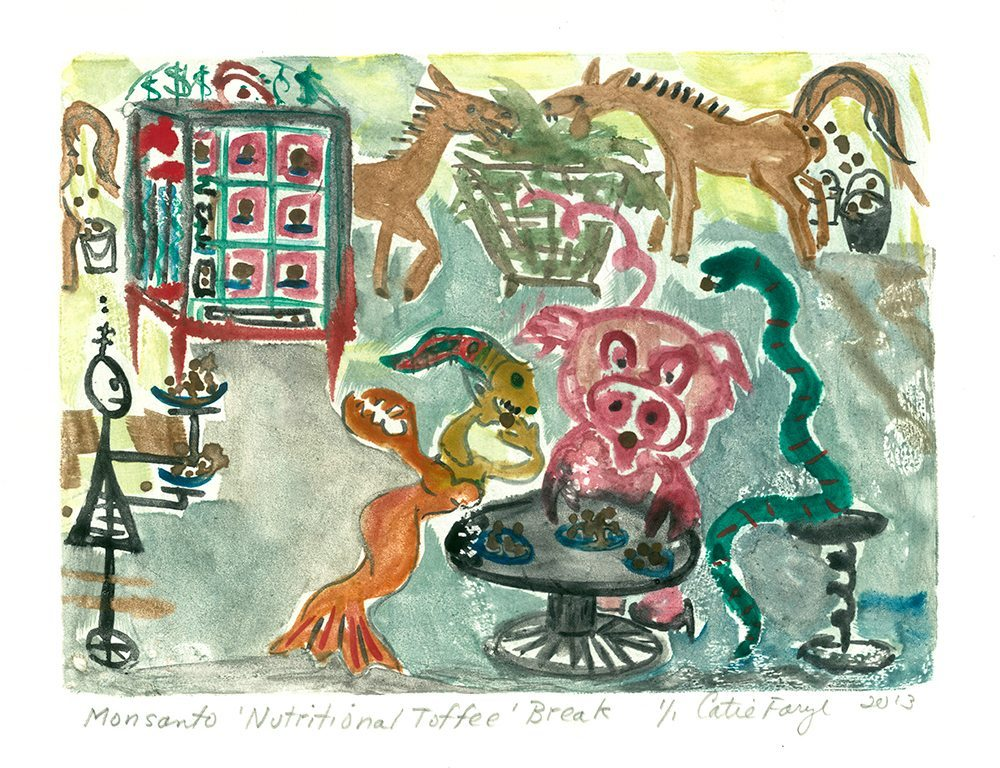 """Monsanto Nutritional Toffee Break, Monotype Print from the """"Don't Shop with G-Nome"""" series by artist Catie Faryl, 2013."""