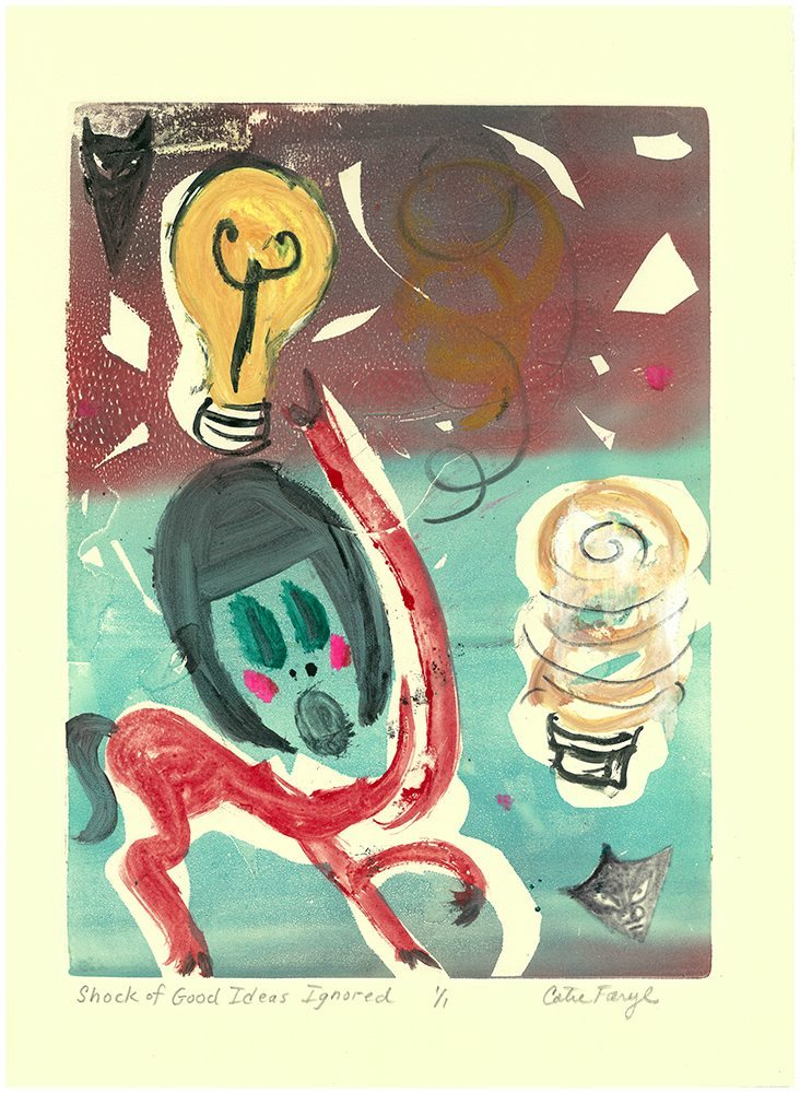 "The Shock of Good Ideas Ignored, Monotype Print from the ""The Bridge to 2020"" series by artist Catie Faryl, 2013."
