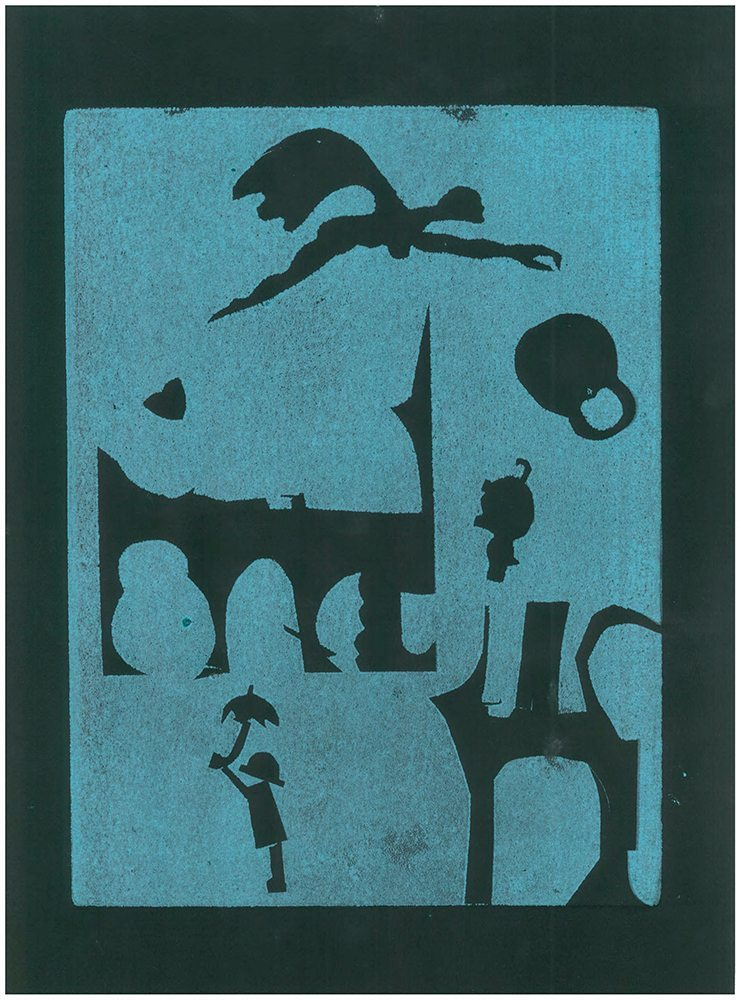 """Sir Realism, Monotype Print from the """"The Bridge to 2020"""" series by artist Catie Faryl, 2013."""