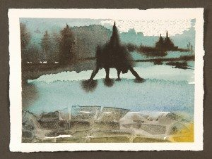 "The Bridge, Monotype Print from the ""The Bridge to 2020"" series by artist Catie Faryl, 2013."