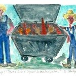 "Yup! That's Dow and duPont in the Dumpster!, Monotype Print from the ""Don't Shop with G-Nome"" series by artist Catie Faryl, 2013."