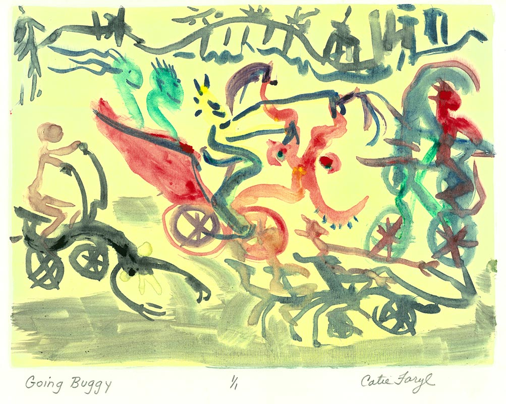 "Going Buggy, Monotype Prin from the 2011 collection ""the Upward Spiral"", of the ""Digging Out From The Dirty Decade"" exhibition series by artist Catie Faryl."