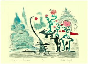 "The Shaman's Dream, Monotype PrintWatercolor / monotype print from the 2011 collection ""the Upward Spiral"", of the ""Digging Out From The Dirty Decade"" exhibition series by artist Catie Faryl."